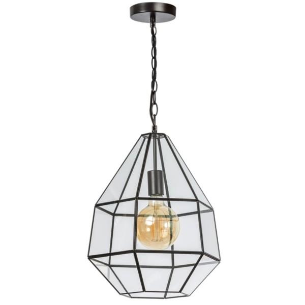 Hängelampe Fame 36 x 36 cm Hängeleuchte Lampe Pendelleuchte Glas Metall schwarz