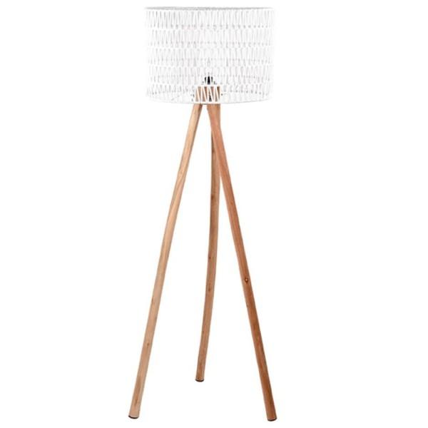 Flurlampe STRIPE 143 cm Leuchte Standleuchte Stehlampe Lampe Holz Schirm weiß