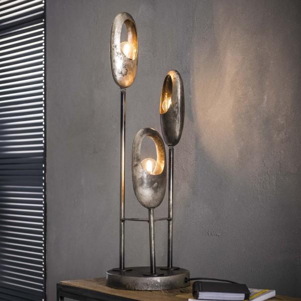 Tischlampe 3 flammig offenes Auge Metall altsilber Tischleuchte Lampe Leuchte