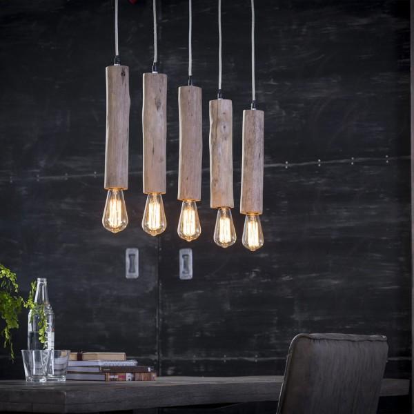 Hängelampe Holz Eukalyptus 5 Lichter LED Leuchte Pendelleuchte