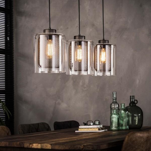 Hängelampe Pendelleuchte 3 Lampenschirme Ø 20 cm Glas + Metall Industrie Design