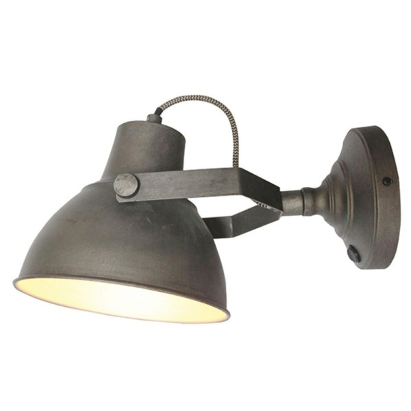 Wandlampe RAW Ø 20 cm Metall grau Wandleuchte Lampe Leuchte Beleuchtung