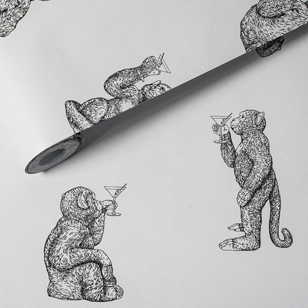 Hochwertige Vliestapete Cocktail Monkeys weiß Dekor Tapete
