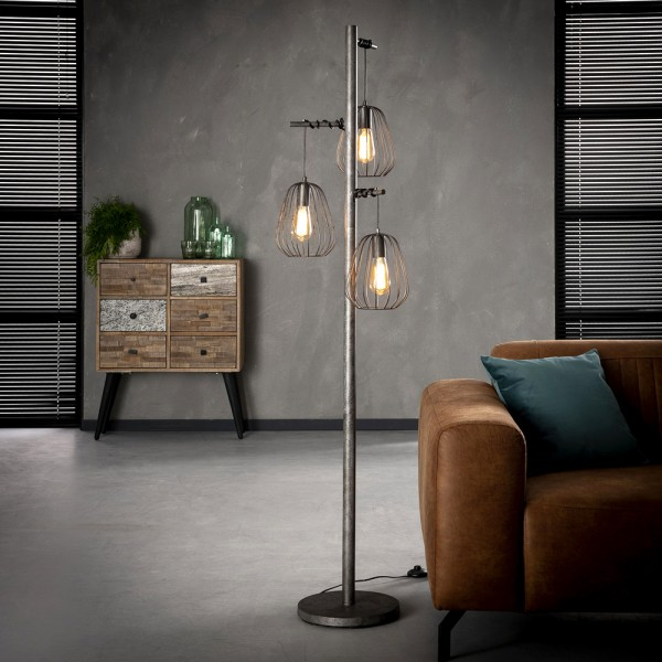 Flurlampe Lampoon 3 flmg H 173 cm Metall altsilber Standleuchte Stehlampe Lampe