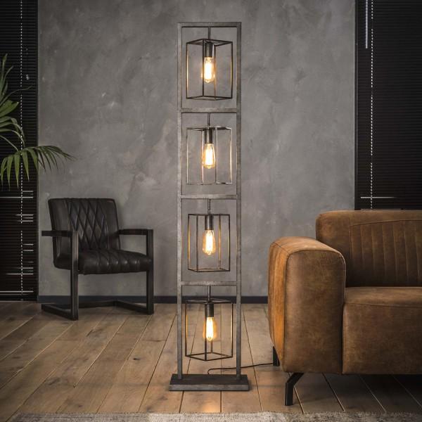 Flurlampe Turm H 160 cm 4 flmg Metall altsilber Standleuchte Stehlampe Lampe