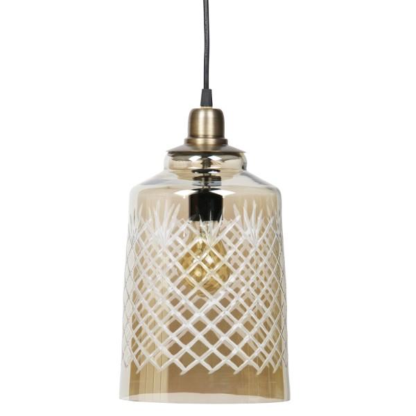 Hängelampe Engrave Ø 19 cm Glas antikmessing Lampe Hängeleuchte Pendelleuchte