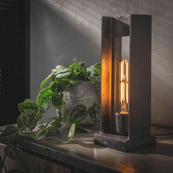 Tischlampe H Form H 37 cm schwarz Nickel Finish Metall Tischleuchte Lampe