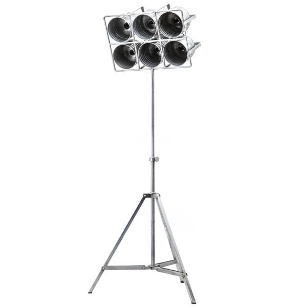 Flutlicht Minack 6 flammig Standleuchte Stehlampe Lampe Metall metallic