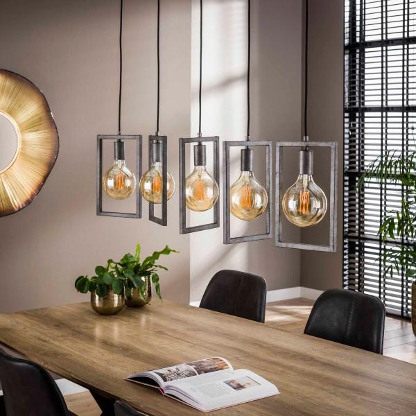 Hängelampe RAHMEN 5 flmg Metall altsilber Finish Lampe Deckenlampe Hängeleuchte