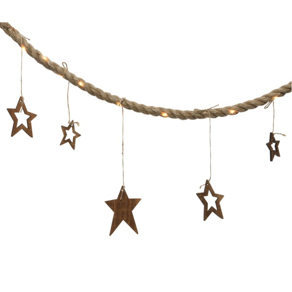 Lichterkette LED Juteseil 40 LEDs Girlande Holzdeko Sterne Lampe Weihnachten