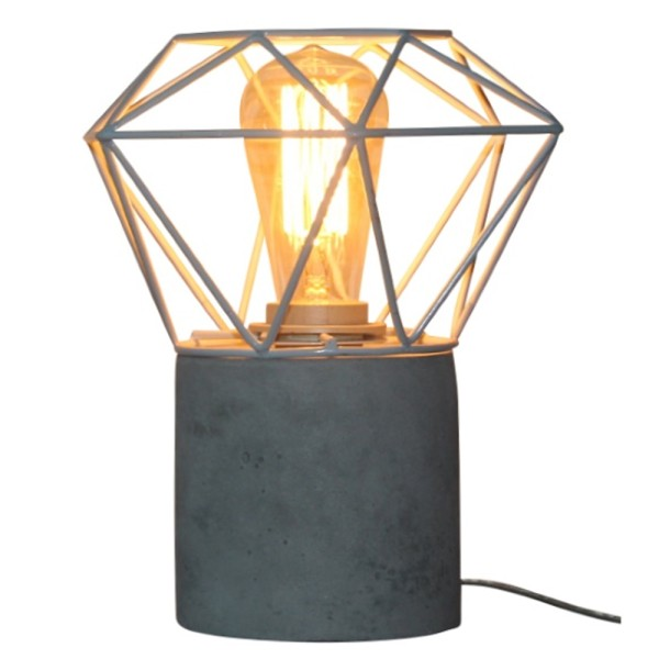 Tischlampe MADRID Diamant Tisch Lampe Leuchte Tischleuchte Betonlook Metall