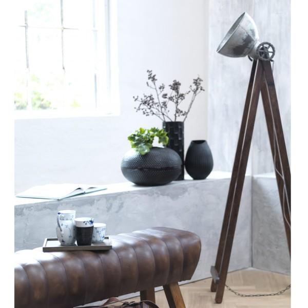 Flurlampe CANNES H 150 cm Metall vintage grau Holz Standleuchte Stehlampe Lampe