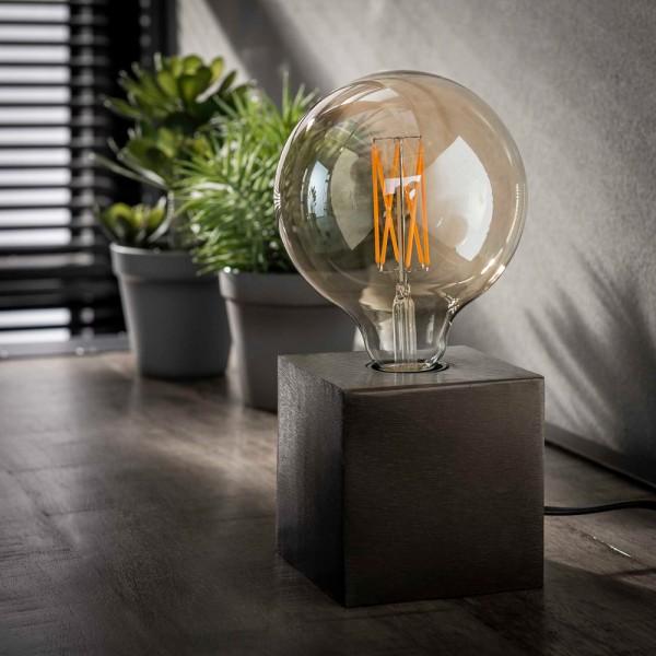 Vintage Tischlampe Block schwarz nickel H 10 cm Metall E27 Tischleuchte Lampe Blocklampe