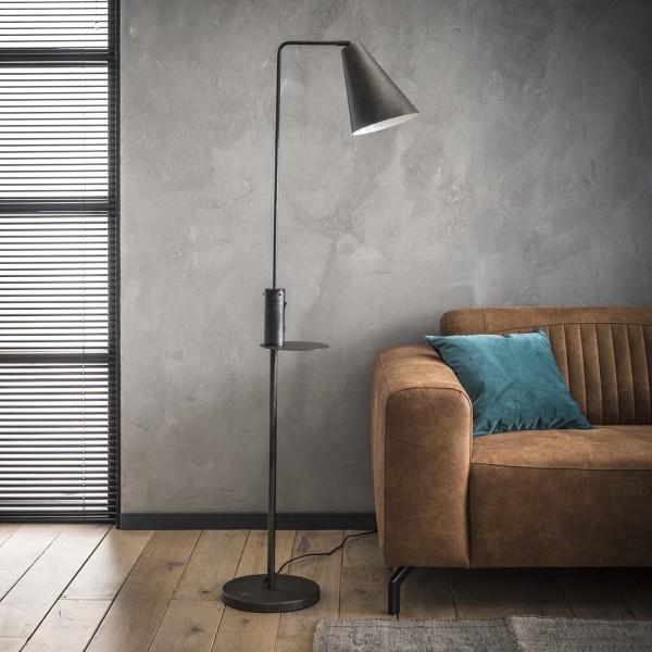 Flurlampe H 160 cm USB Ladegerät Metall kohlefarben Standleuchte Stehlampe Lampe