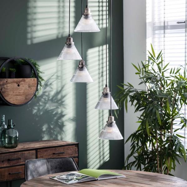 Deckenleuchte Glas 5 flmg alt silber finish Lampe Deckenlampe Hängeleuchte