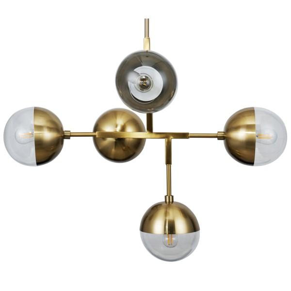 Hängelampe Globular 5 flmg Metall antikmessing Lampe Deckenlampe Hängeleuchte