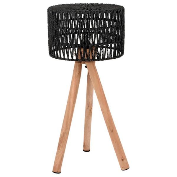 Stehlampe STRIPE 69 cm Leuchte Tischlampe Tischleuchte Lampe Holz Schirm schwarz