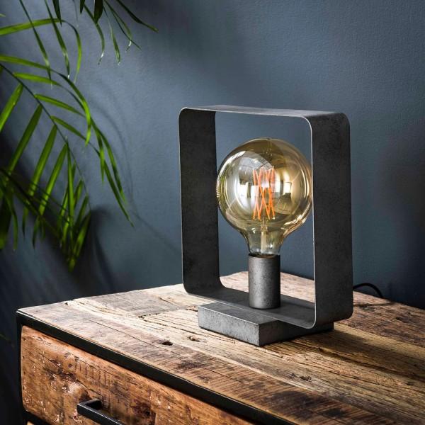 Tischlampe 1L STROP H 28 cm Metall altsilber Tischleuchte Lampe Leuchte