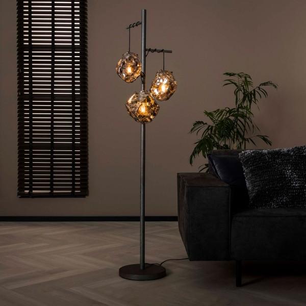 Stehlampe Stone 3L H 170 cm Metall Glas verchromt Standleuchte Stehlampe Lampe