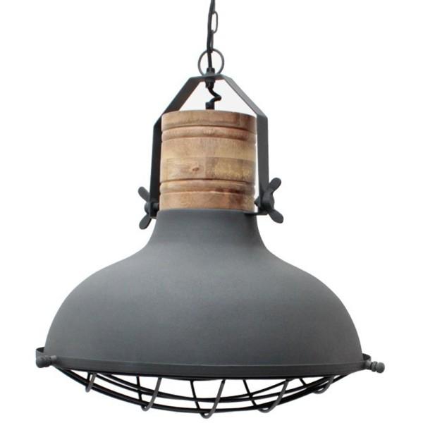 Industrie Lampe Design GRID 52 cm grau Holz Hängelampe Metall Hängeleuchte