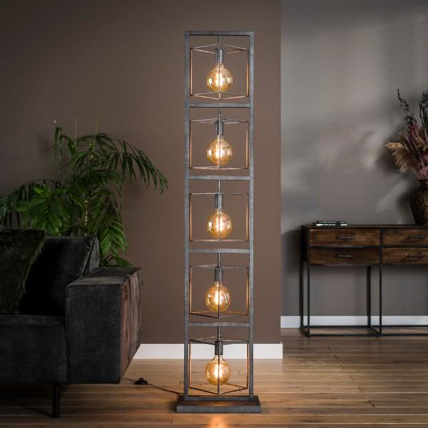 Stehlampe TOWER 5 flmg H 180 cm Metall altsilber Finish Standleuchte Leuchte