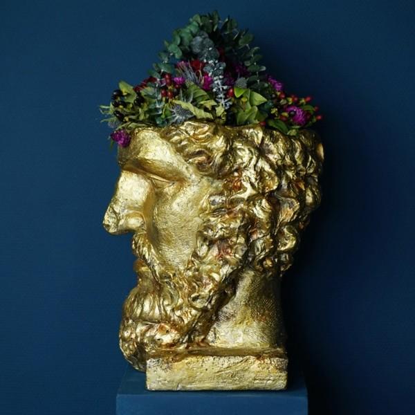 Pflanzobjekt Titan H 40 cm Gold Pflanztopf Pflanz Kopf Garten Büste Blumen Topf