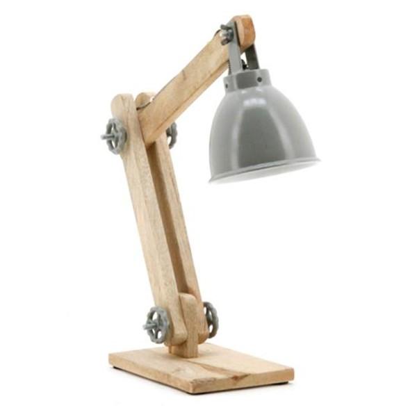 Tischlampe DAVINCI Schreibtisch Lampe Leuchte Tischleuchte Holz Metall grau
