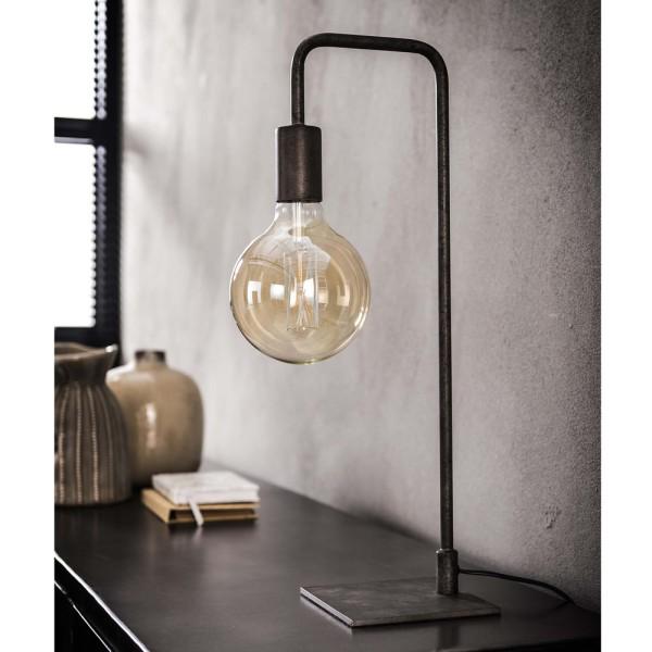 Tischlampe gebogener Rahmen H 50 cm Metall altsilber Tischleuchte Lampe Leuchte