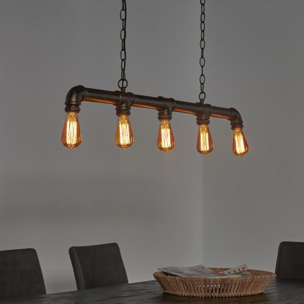 Hängelampe Industrierohr 6 Lampen Rohr Fabrik Pendelleuchte Wasserrohr Metall