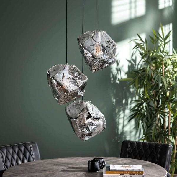 Hängelampe Rocket Cube Glas 3 flmg chromed Deckenleuchte Lampe Hängeleuchte