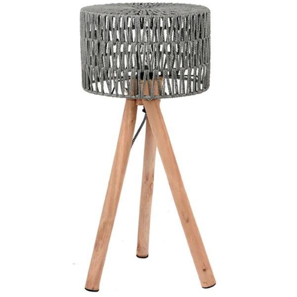 Stehlampe STRIPE 69 cm Leuchte Tischlampe Tischleuchte Lampe Holz Schirm grau
