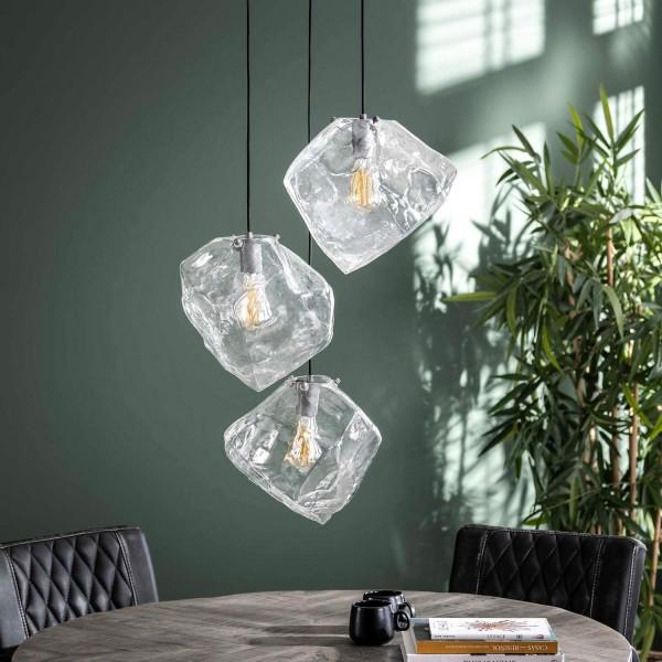 Hängelampe ICE Cube Glas 3 flmg Deckenleuchte Lampe Hängeleuchte Leuchte