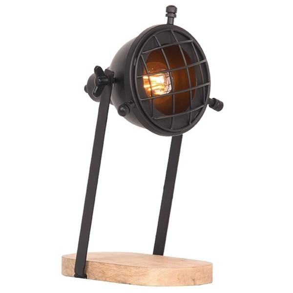 Tischlampe GRID Metall schwarz Holz Schreibtischlampe Lampe Leuchte Tischleuchte