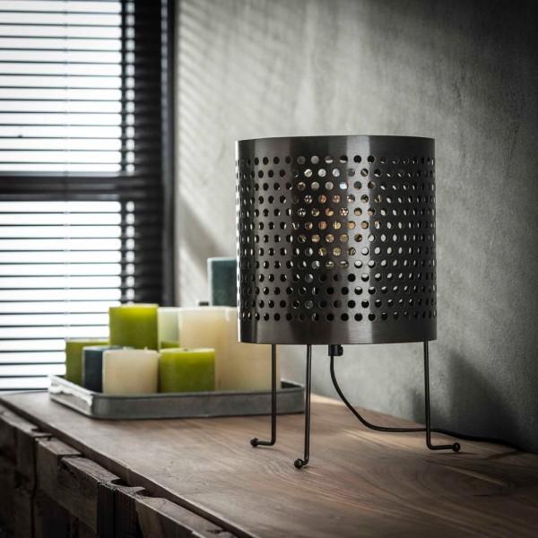 Tischlampe Spike perforiert Ø 22 cm Metall schwarz nickel Tischleuchte Lampe