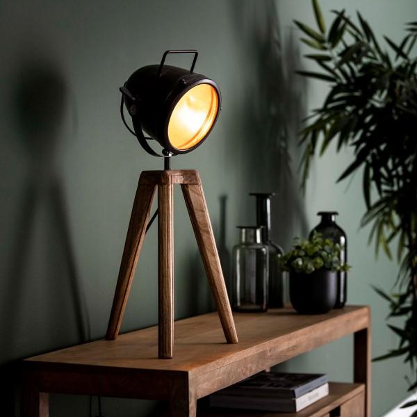 Tischlampe 1L Holzfuss H 60 cm Metall Mangoholz Tischleuchte Lampe Leuchte