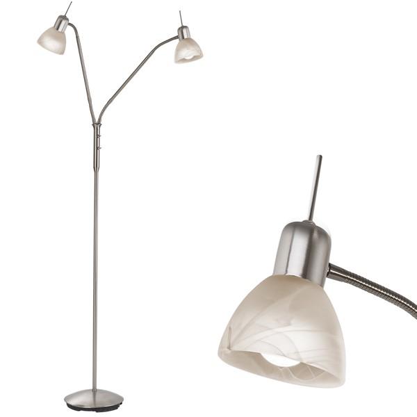 LED Stehleuchte Leseleuchte DAYTONA 2 flammig nickel Standleuchte Leuchte Lampe