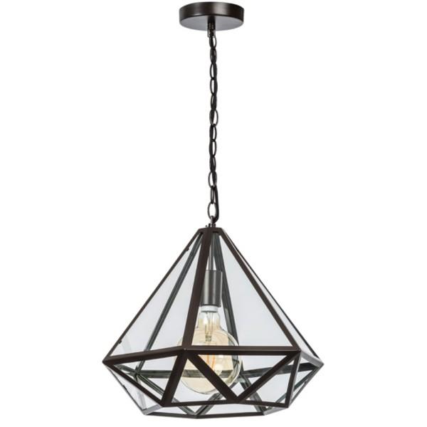Hängelampe Fame 43 x 43 cm Hängeleuchte Lampe Pendelleuchte Glas Metall schwarz
