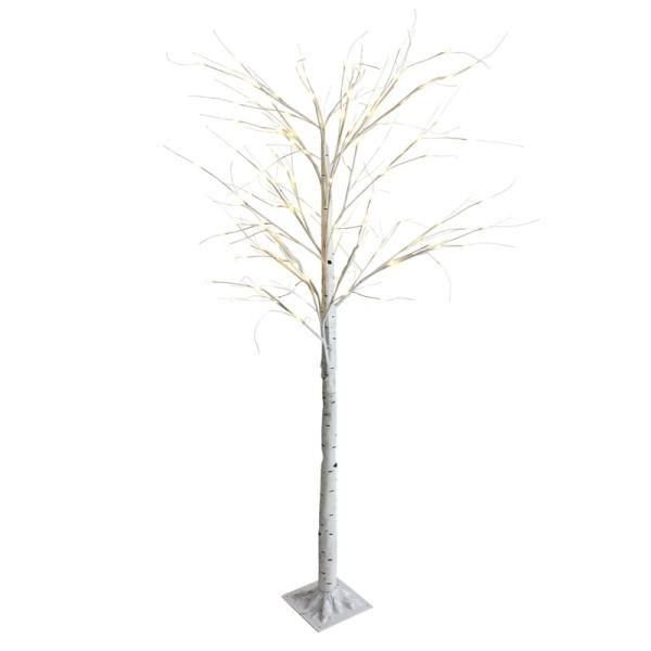 DEKOBAUM LED Baum Birke 220 cm Lichterbaum Weihnachtsbaum Deko 138 LED Lichter