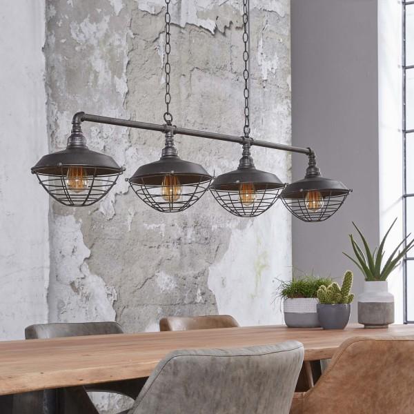 Hängelampe Industrierohr 4 Lampenschirme Ø 25 cm halbrund Wasserrohr Metall